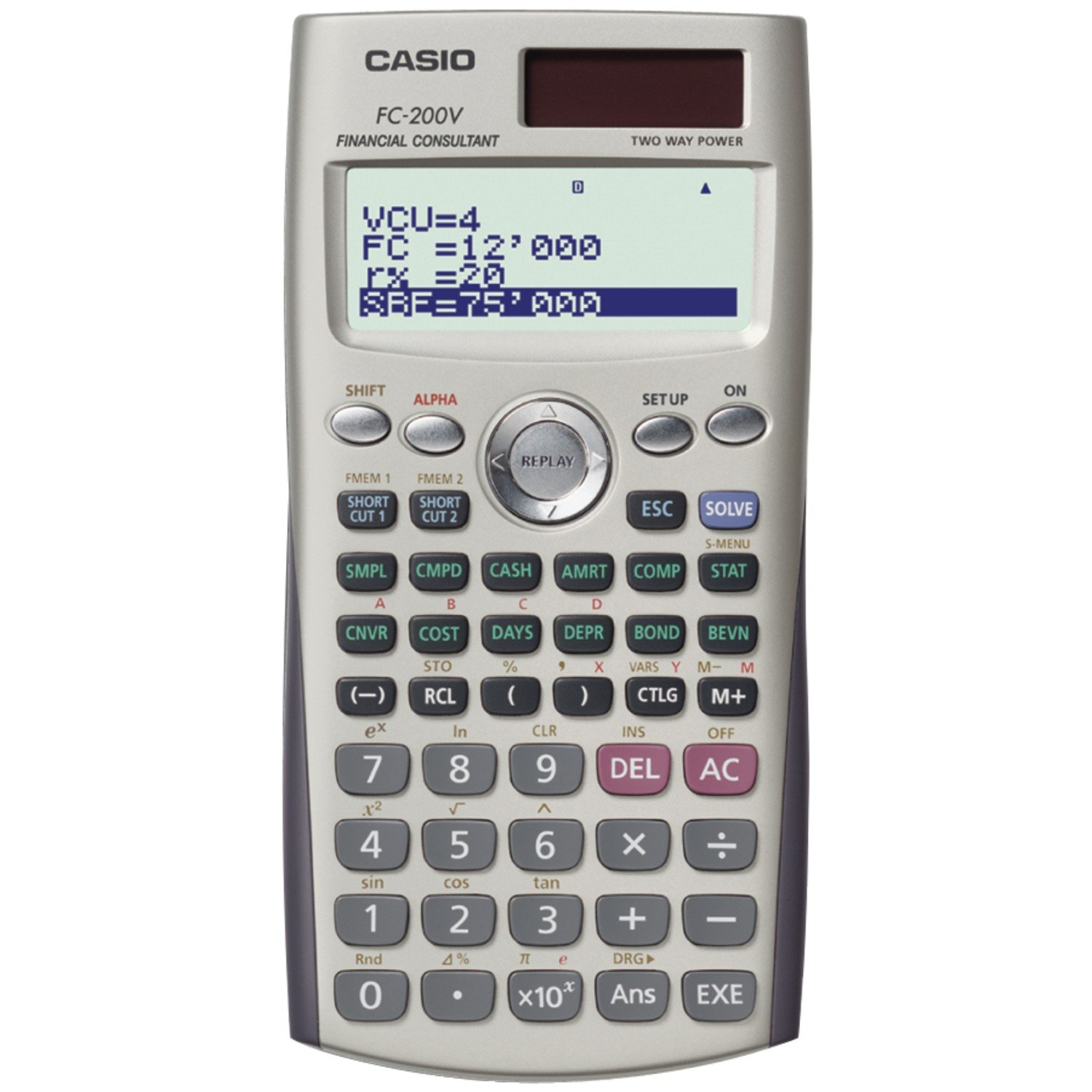 Casio FC-200V Financial Calculator with 4-Line Display by Casio