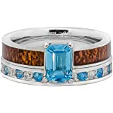 Engagement Wedding Rings Set Natural Blue Topaz & CZ Koa Wood Stainless Steel and Sterling Silver