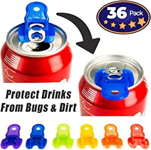 Beverage Barricade Soda Protector 36 Pack for Active Families. Improve Your Picnic or BBQ Experience: Shield Your Cans From Bugs & Dirt, Easily ID Whose Drink is Whose & Eliminate Painful Top Popping.