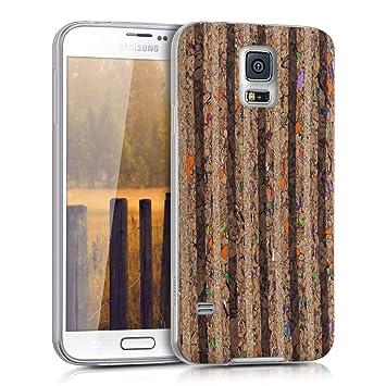 kwmobile Funda para Samsung Galaxy S5 / S5 Neo - Carcasa de TPU para móvil y diseño Reciclada Rallas Negro/marrón Claro