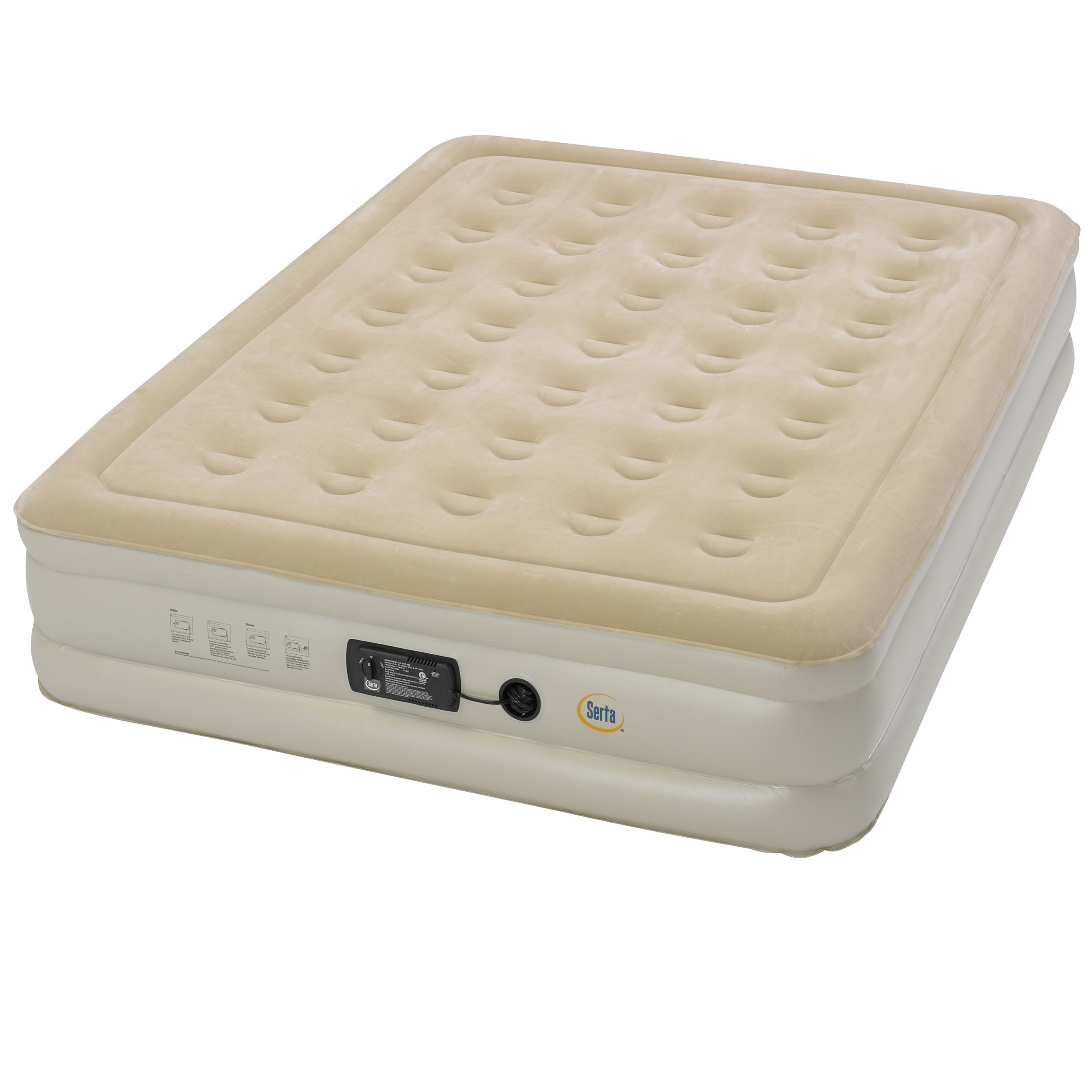 Serta Raised Queen Air Mattress with Insta III Pump by Serta