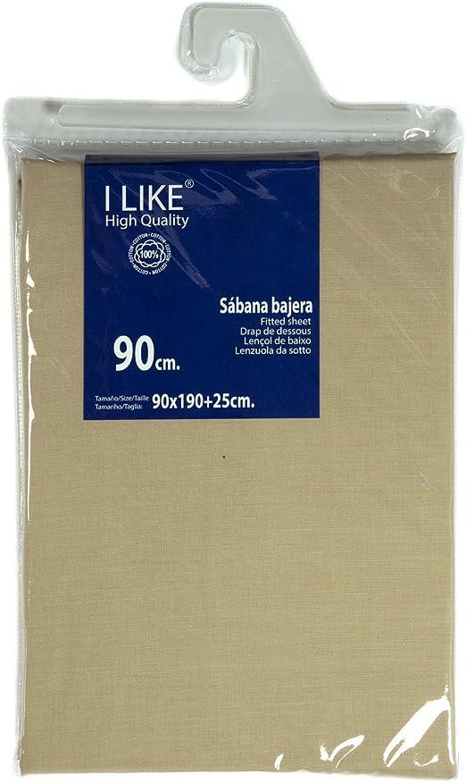 I LIKE® Sabana Bajera Ajustable Color Lino 100% ALGODÓN Cama 90 (90 X 190 + 25 cm): Amazon.es: Hogar