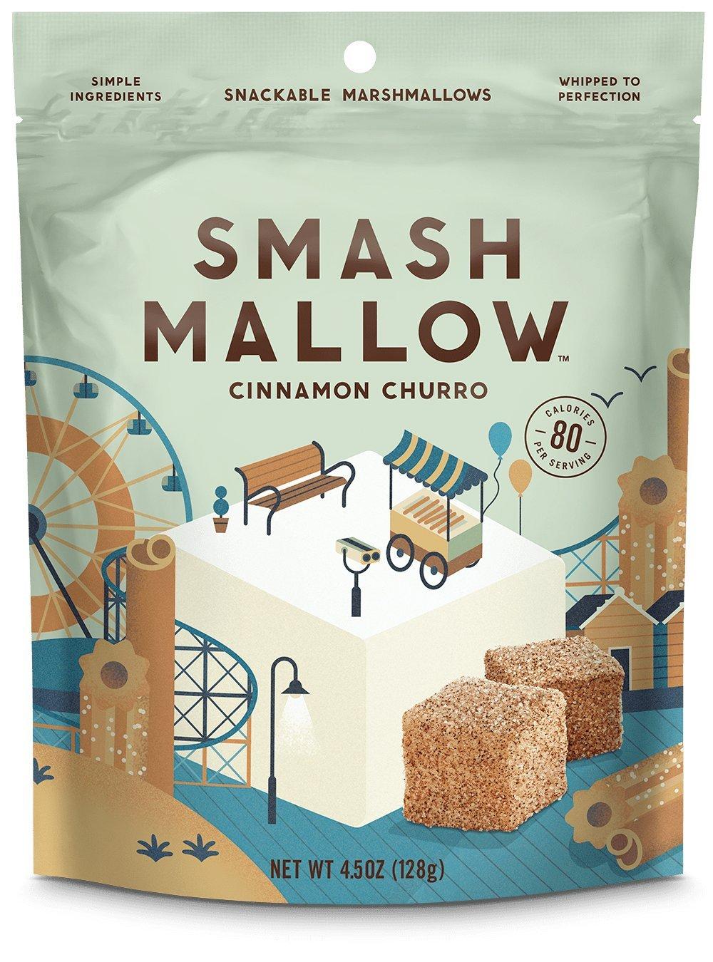 Smash Mallow Snackable Marshmallows Cinnamon Churro 4.5 oz (Pack of 4) by Smash Mallow