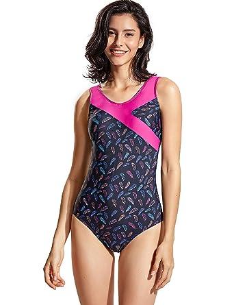 038df3fe11a DELIMIRA Women's One Piece Swimsuit Plus Size Swimwear Print Bathing Suit  Multicoloured #23 US 4