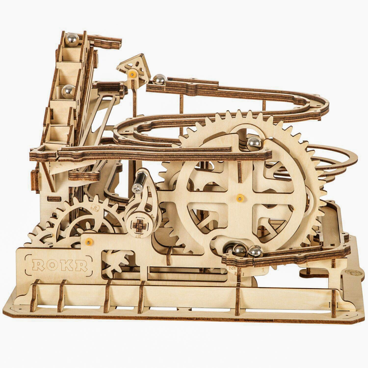 ROKR Marble Run Wooden Model Kits 3D Puzzle Mechanical Puzzles for Teens and Adults(Waterwheel Coaster) by ROKR