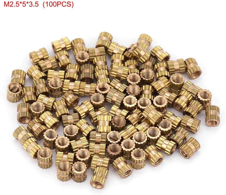 M2.5 * 3 * 3.5(100pcs) M2,5 Gewinde Messing R/ändelgewinde Einbaumuttern Sortiment