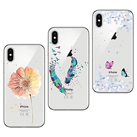 buy online f294c 5b2db Yokata [3 Pack] iPhone X Case Transparent Clear Soft Flexible TPU Silicone  Thin Slim Protective Shockproof Pattern Design Cases Covers - Butterfly ...