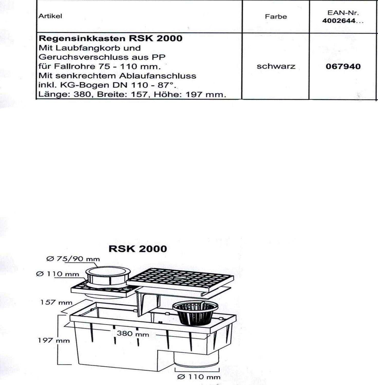 MARLEY RSK 2000 Regensinkkasten Laubfangkorb Rohre 75-110mm