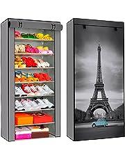 Just Home Zapatera Multipráctica 8 Repisas Torre Eiffel Paris Almacenaje Útil Práctica Resistente Fácil Armado 24 Pares Zapatos 8 Niveles