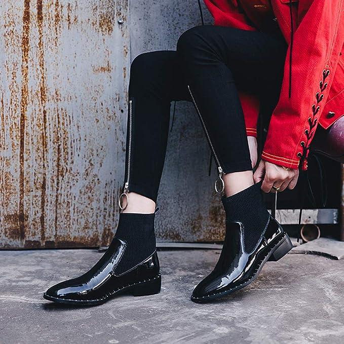 ADEMI Casual Mujer Corta Botines Planos Con Hebilla De Tacón Bajo Zip Volver Zapatos Chelsea: Amazon.es: Ropa y accesorios