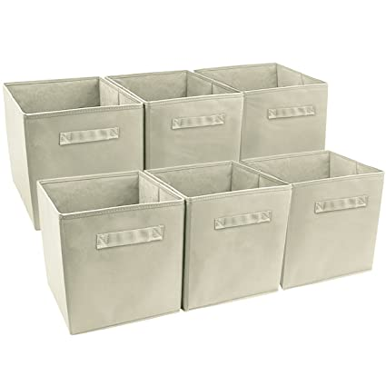 Sorbus Foldable Storage Cube Basket Bin 6 Pack Beige  sc 1 st  Amazon.com & Amazon.com: Sorbus Foldable Storage Cube Basket Bin 6 Pack Beige ...