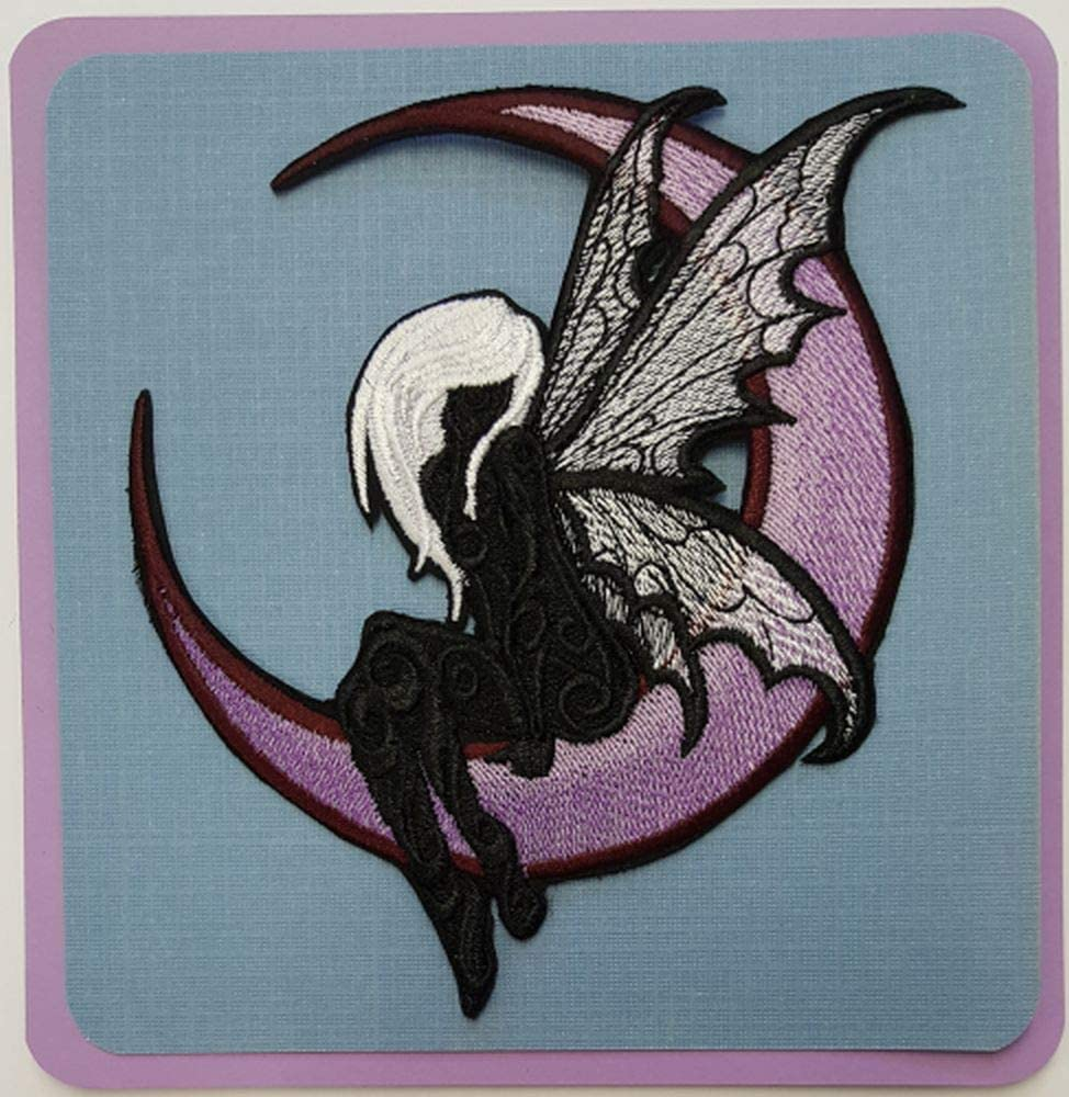 Embroidered Iron-On//Sew-On Punk Goth Witch Alt Fairy on Crescent Moon Patch