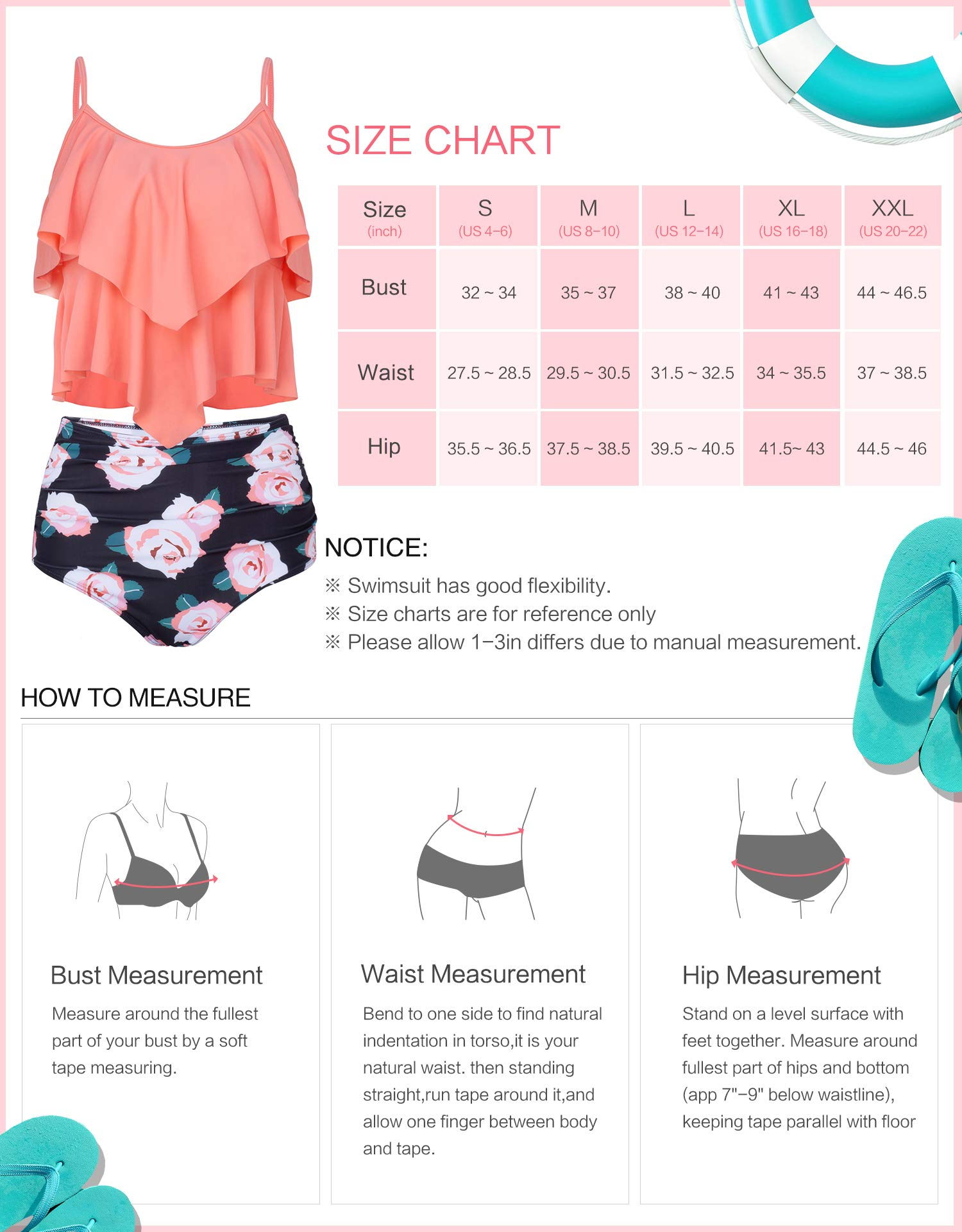 Verano Playa Women Two Piece Swimsuit Ruffle Layered Tankini Top with High Waist Bottom Bathing Suit Orange Pink