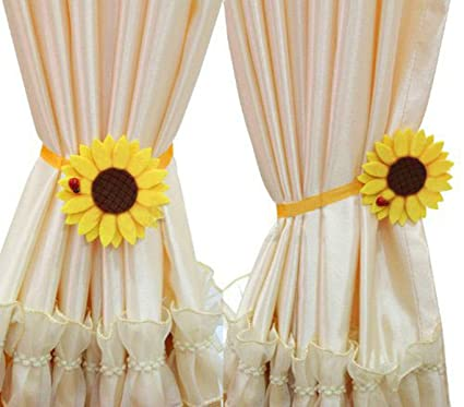 Ayygift 1 Pair Sunflower Curtain Magnetic Tiebacks Non Woven Fabric Countryside Rural Style Tie