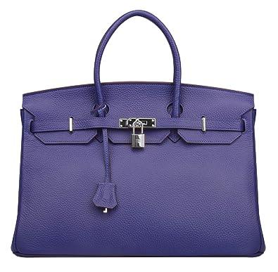 Ainifeel Women s Padlock Genuine leather 40CM Handbags (40cm(silver  Hardware) ec277e1f8158d