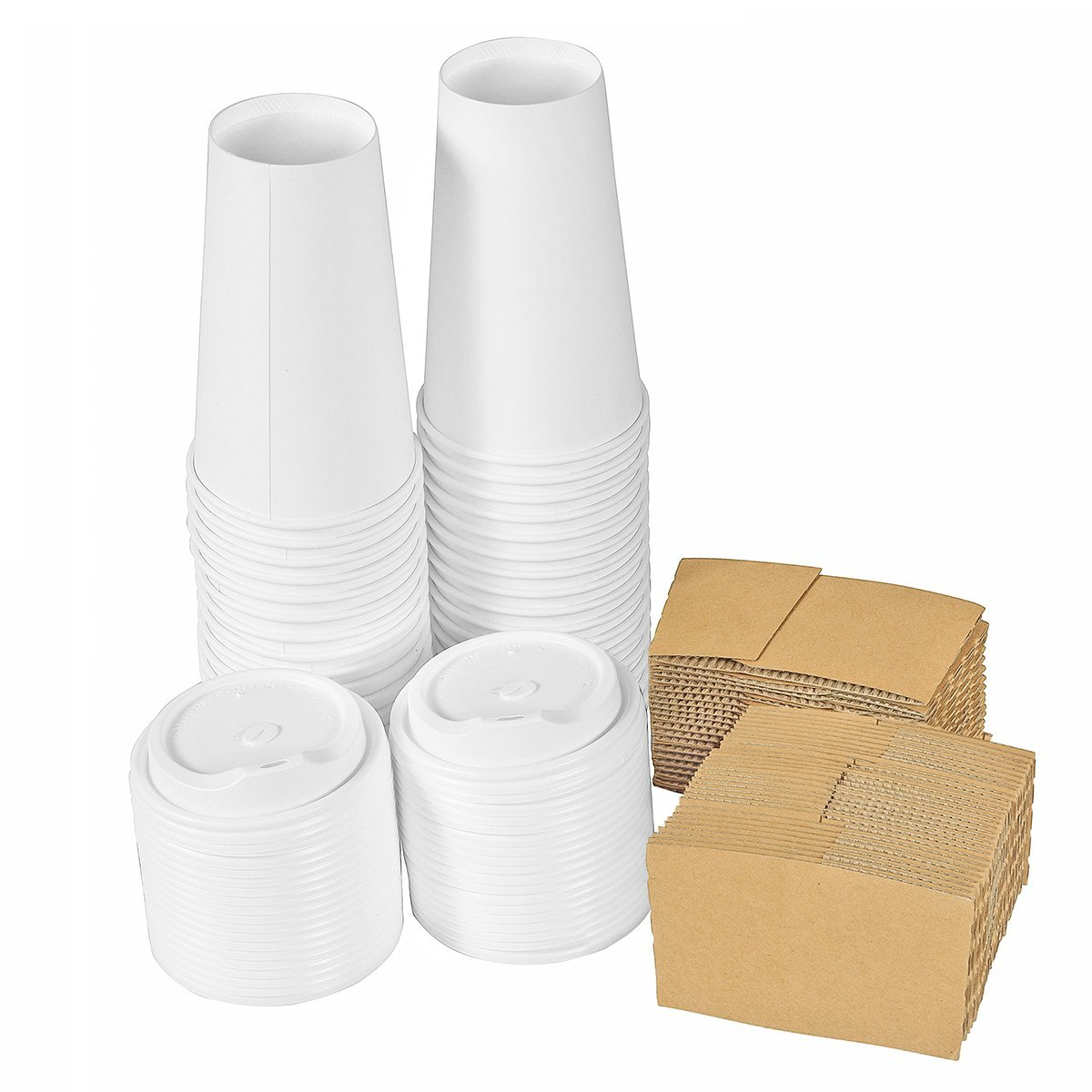 Premium Quality 16 Oz. Disposable White Hot Paper Coffee Cups By PrepStor – 50 Pack Set Complete With Travel Protective Sleeves & Lids – Perfect For Take Away, Office Use, Bars & Coffee Shops