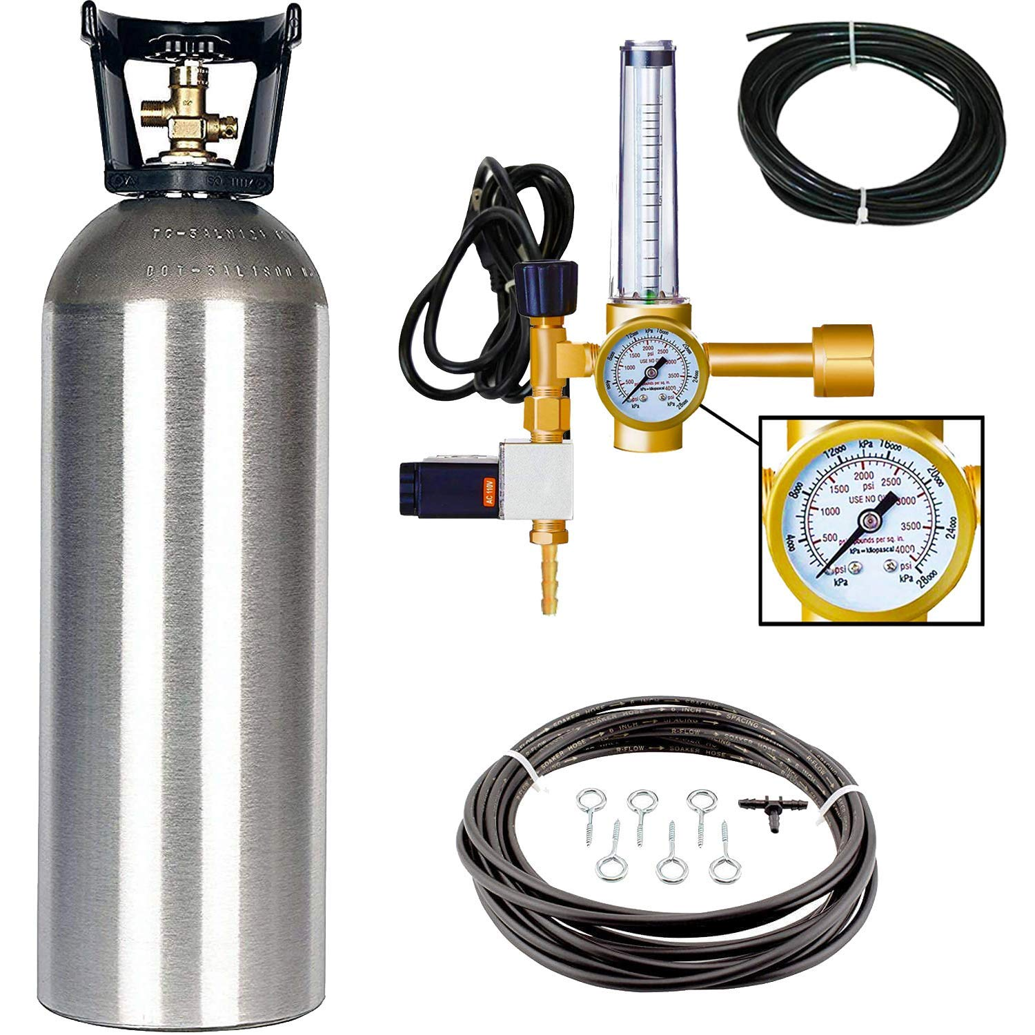 Grow Crew Hydroponic CO2 Enrichment Kit Includes 20 lb Aluminum CO2 Tank, Carbon Accelerator CO2 Regulator, and Active Air Rain System to Shower Your Plants with CO2