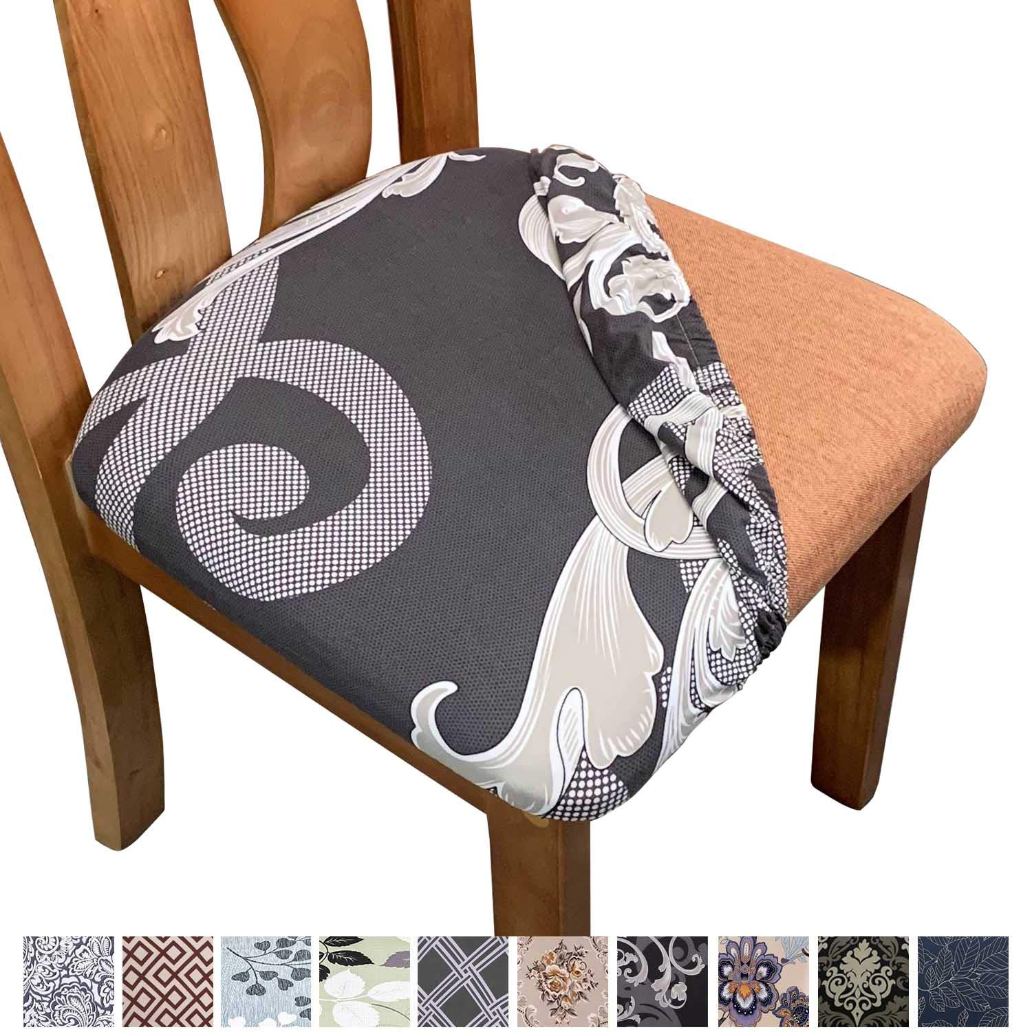 Chair Seat Covers Anti-Dust Stretch Upholstered Kitchen Stool Seat Slipcover
