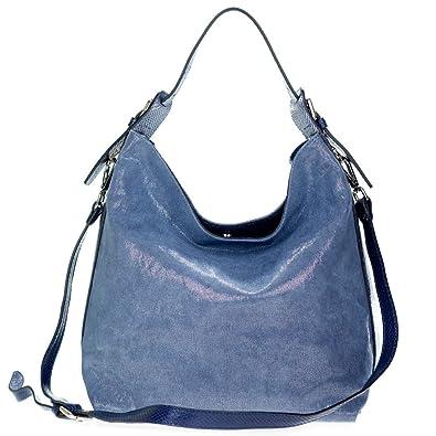 feb1838f136 Gianni Chiarini Italian Made Silver Blue Canvas & Leather Hobo Bag