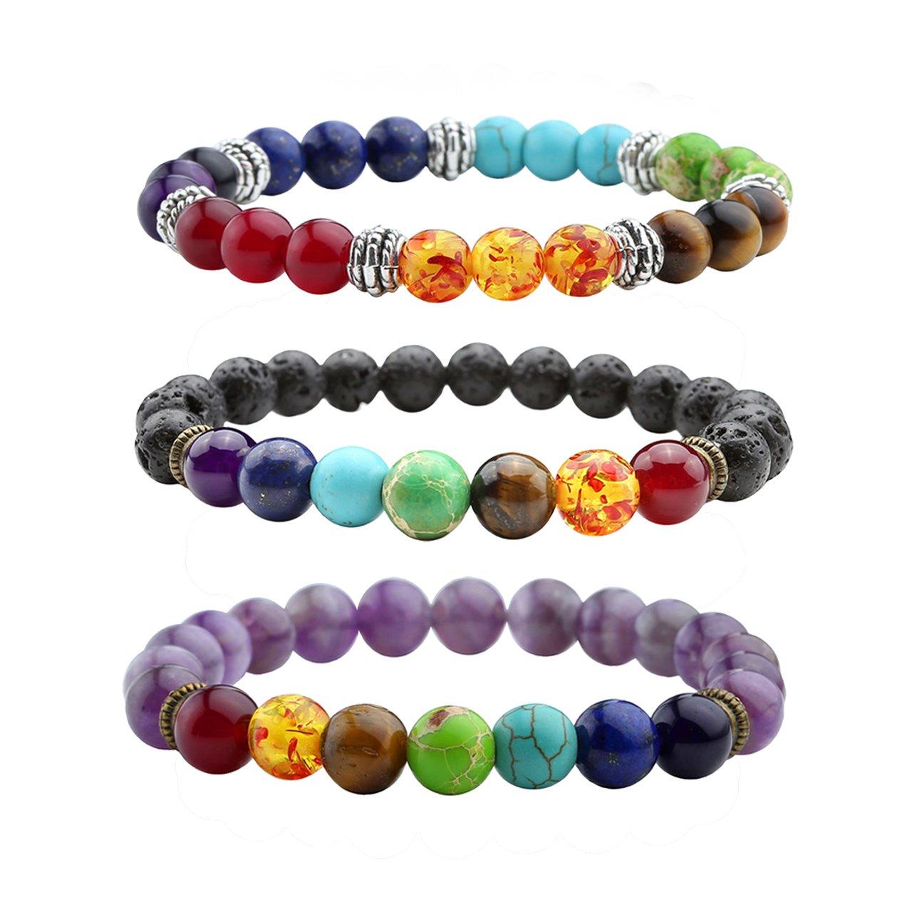 Top Plaza 7 Chakra Healing Balance Energy Crystal Gemstone Beads Bracelets Set, 8MM Beads (Amethyst/Lava Rock Stone/Reiki Chakra Bracelet/3 pcs)