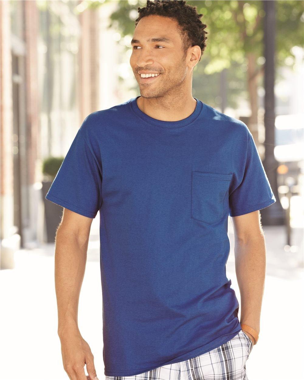 Fruit of the Loom Men's 4 Pack Pocket Crew Neck T Shirt Black X-Large