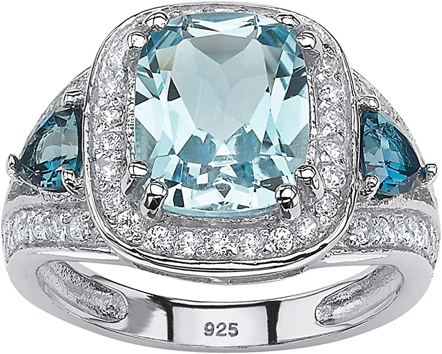 Lex /& Lu Sterling Silver w//Rhodium Diamond Aquamarine Round Post Earrings