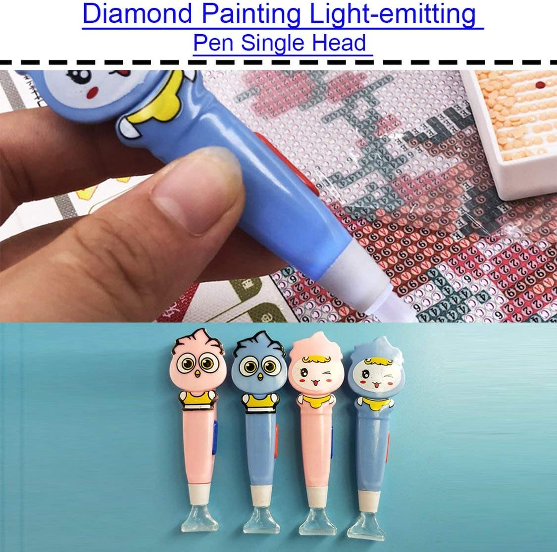Tragbare gr/ö/ße 5d diamant malerei punkt stift super helle led licht strass stickerei werkzeuge bohrstift mit hellrosa einzigen kopf
