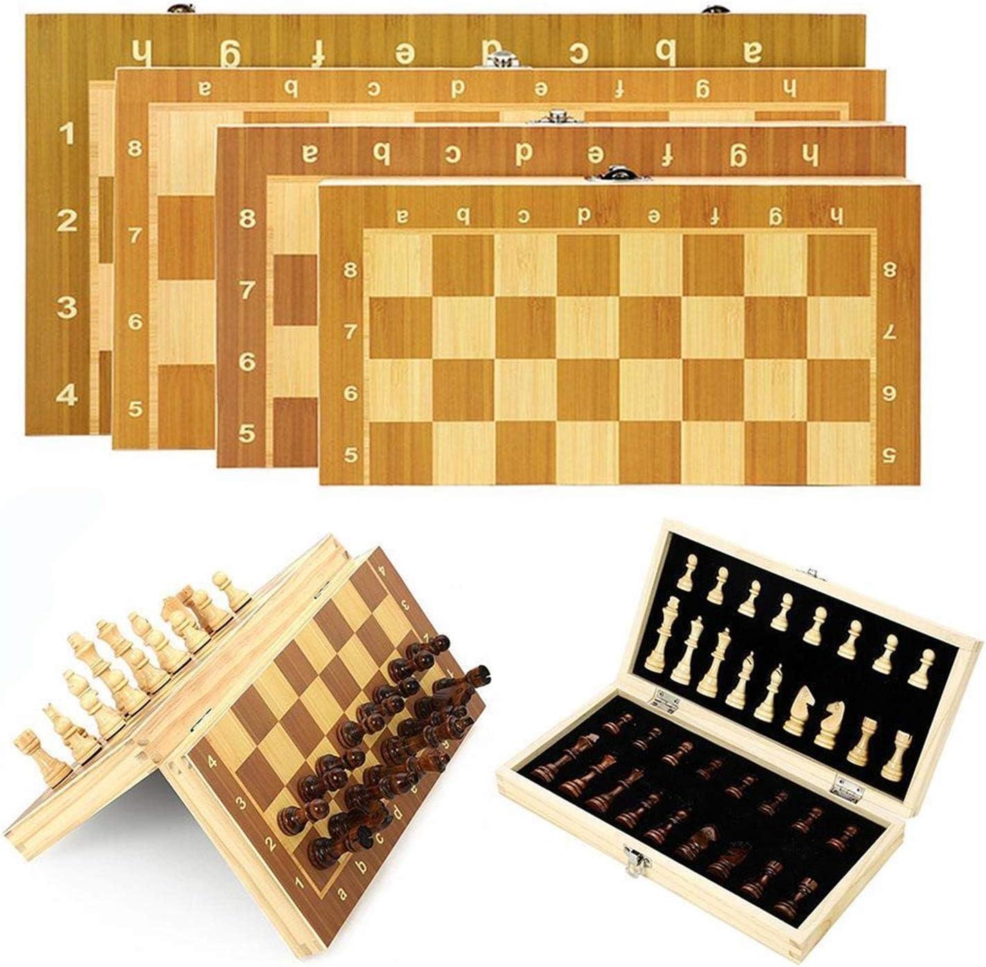 SIWJ 자기 체스에 설정 나무로 되는 접이식 체스판을 설정하는 여행 게임을 자국제 체스커 성인이 지적 재산권 보드 게임 장난감 선물(색상:39CM X39CM)