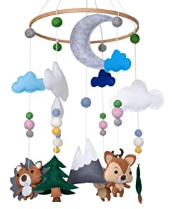 Woodland Animals Crib Mobile by Nested Chick - Woodland Mobile and Mountain Nursery Decor for Adventure Nursery with Forest Animals