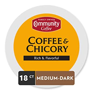 Community Coffee and Chicory Medium Dark Roast Single Serve 18 Ct Box, Compatible with Keurig 2.0 K Cup Brewers,Full Body Rich Flavorful Taste, 100% Arabica Beans