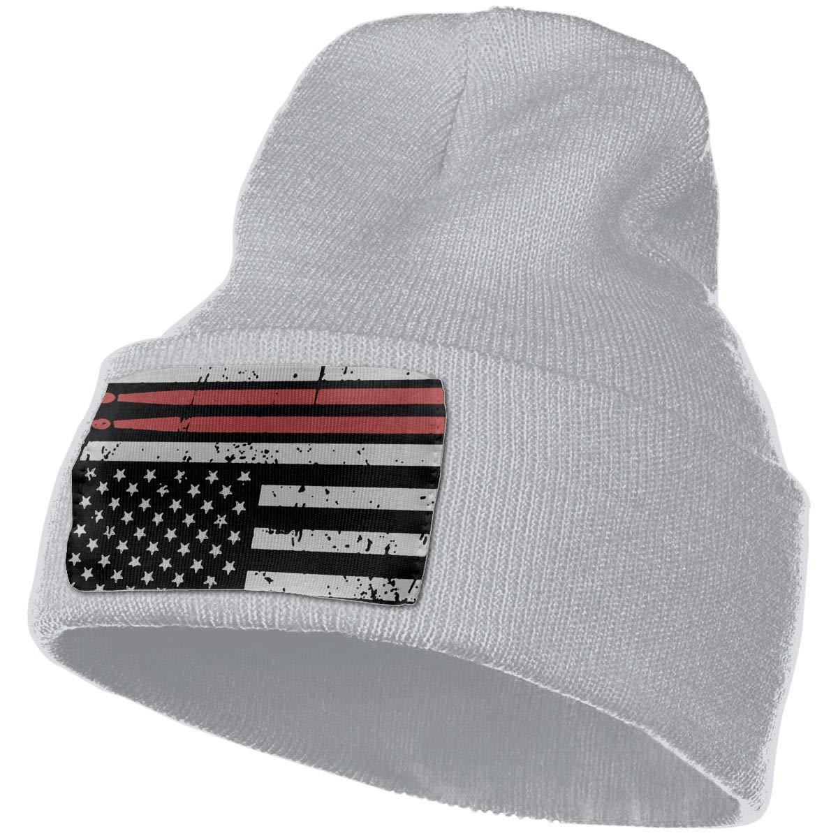 DFKD JKFD Unisex 3D Knitted Hat Skull Hat Beanie Cap Drummers American Flag