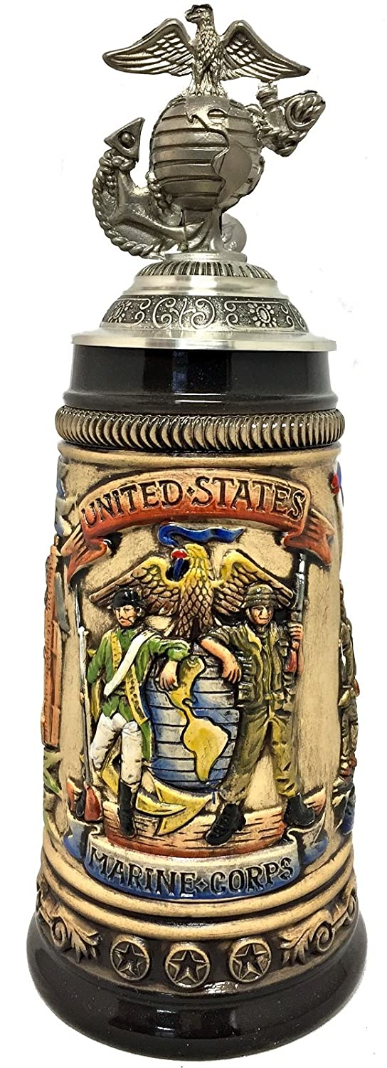United States Marine Corps with USMC Logo Pewter Lid LE German Beer Stein .5 L Pinnacle Peak Trading Company