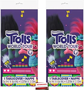 (2 Pack) Trolls World Tour Plastic Table Cover 54 x 84 Inches (Plus Party Planning Checklist by Mikes Super Store)