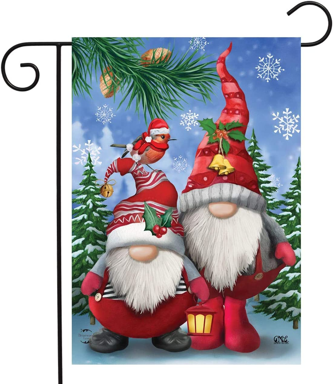 "Briarwood Lane Winter Gnomes Christmas Garden Flag Humor Santa Hats 12.5"" x 18"""