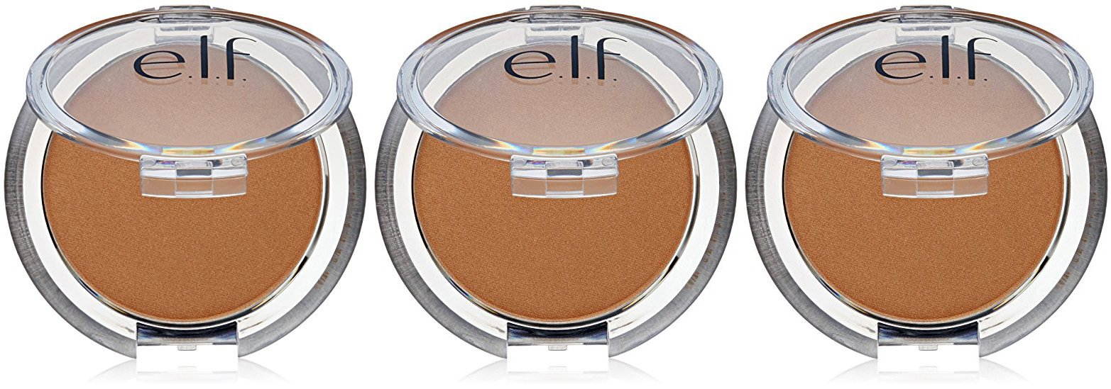 e.l.f. Cosmetics Sunkissed Glow Bronzer Professional Highlighter and Contouring Makeup, .18 Ounce Compact (3 Pack)