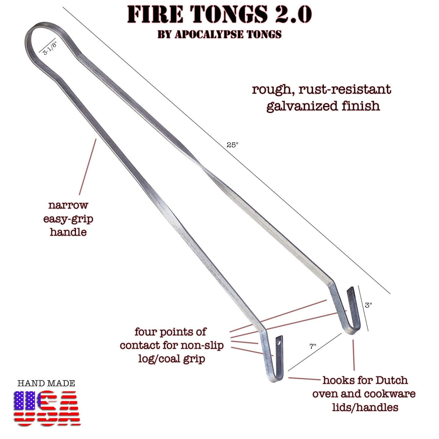 Fire Tongs 2.0 Fire Tongs, Fire Pit Tongs, Campfire Tongs, Charcoal Tongs, Fireplace Tongs, Dutch Oven Cooking Tools