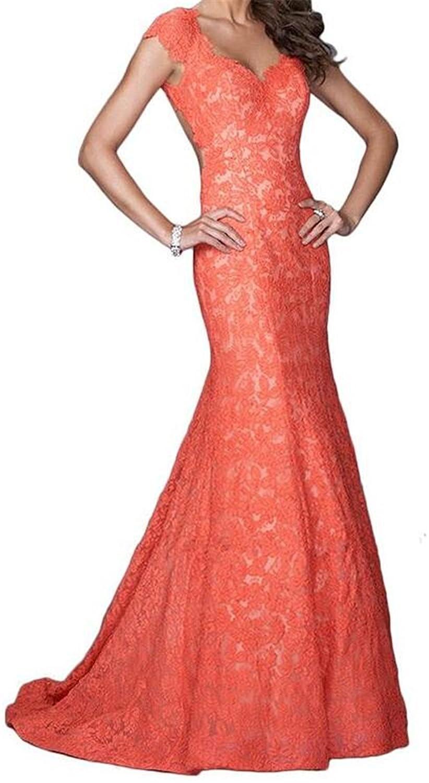 Amazon.com: Endofjune Womens Long Orange Lace Evening Prom Dresses US-8 Red: Clothing