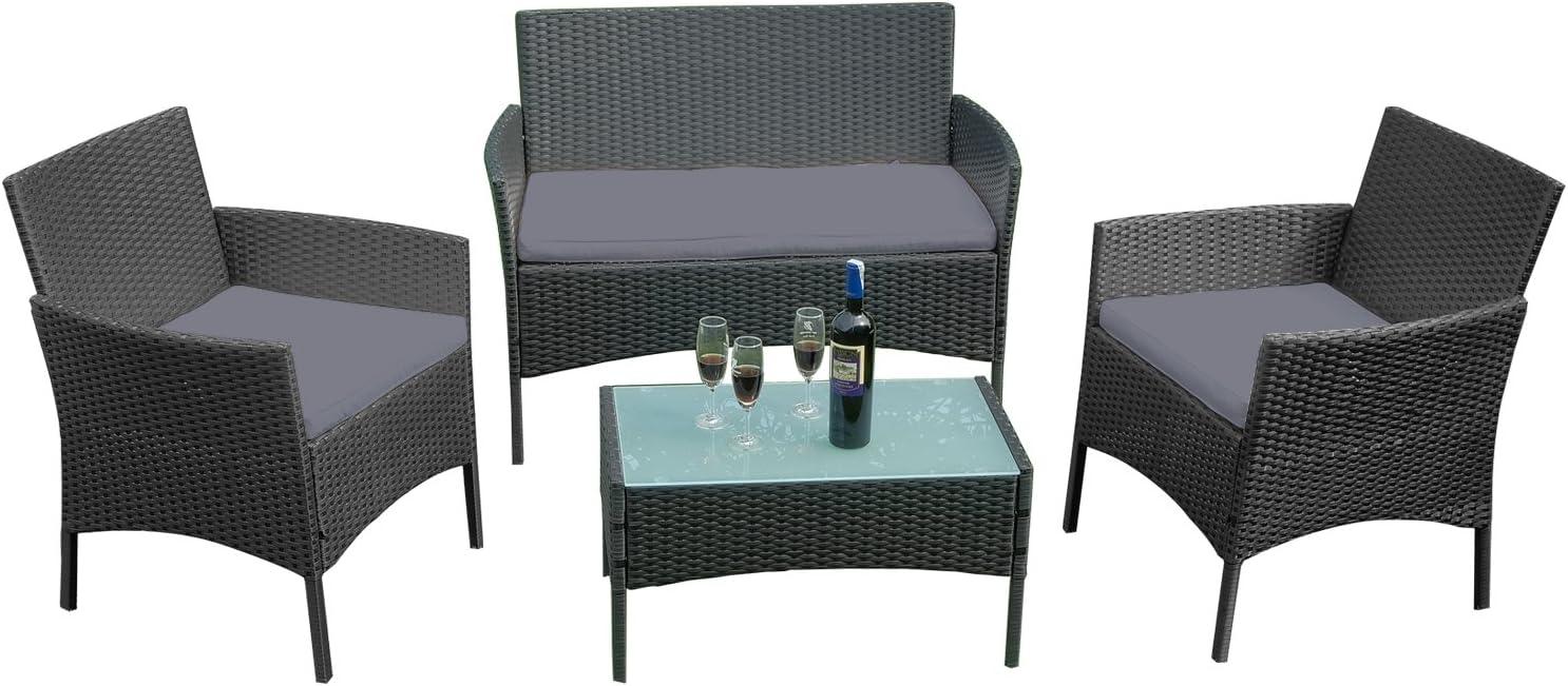 Mesa 2 Sillones LARS360 Conjuntos de muebles de jard/ín Conjunto de Muebles Rat/án de Jardin Para terraza o balc/ón Color Negro y Antracita Sof/á 2 Plazas