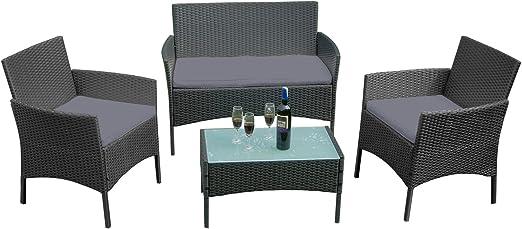 LARS360 Conjuntos de muebles de jardín Conjunto de Muebles Ratán de Jardin Para terraza o balcón, Sofá 2 Plazas + 2 Sillones + Mesa, Color Negro y Antracita: Amazon.es: Jardín