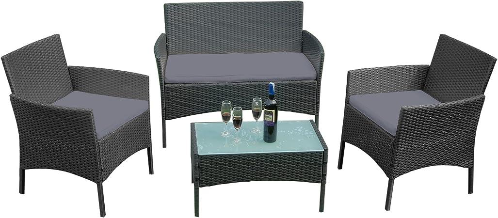 LARS360 Salon de Jardin Salon de Jardin Exterieur Table de jardin en Resine  Tressee Chaises Salon avec 3 Canapés et Table Convient pour Balcon, ...