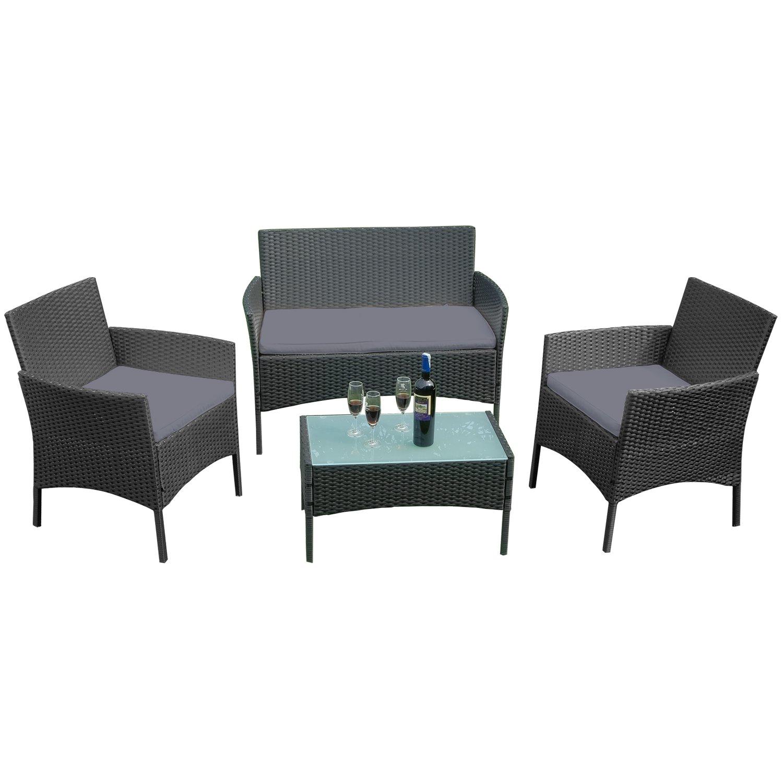 HENGMEI Gartengarnitur Polyrattan Gartenmöbel Set Lounge Sitzgarnitur Gartensofa Rattanmöbel mit 2 Sessel + 1 Bank (Schwarz, Type E mit Anthrazit Kissen)