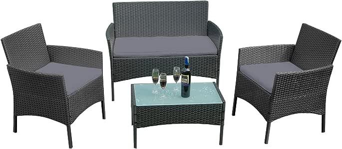 Froadp Conjuntos de Muebles de jardín de ratán Negro - con sofá de Dos plazas, sillones Individuales, Mesa y cojín de Asiento de Antracita - Salón de Muebles de jardín (Tipo A):