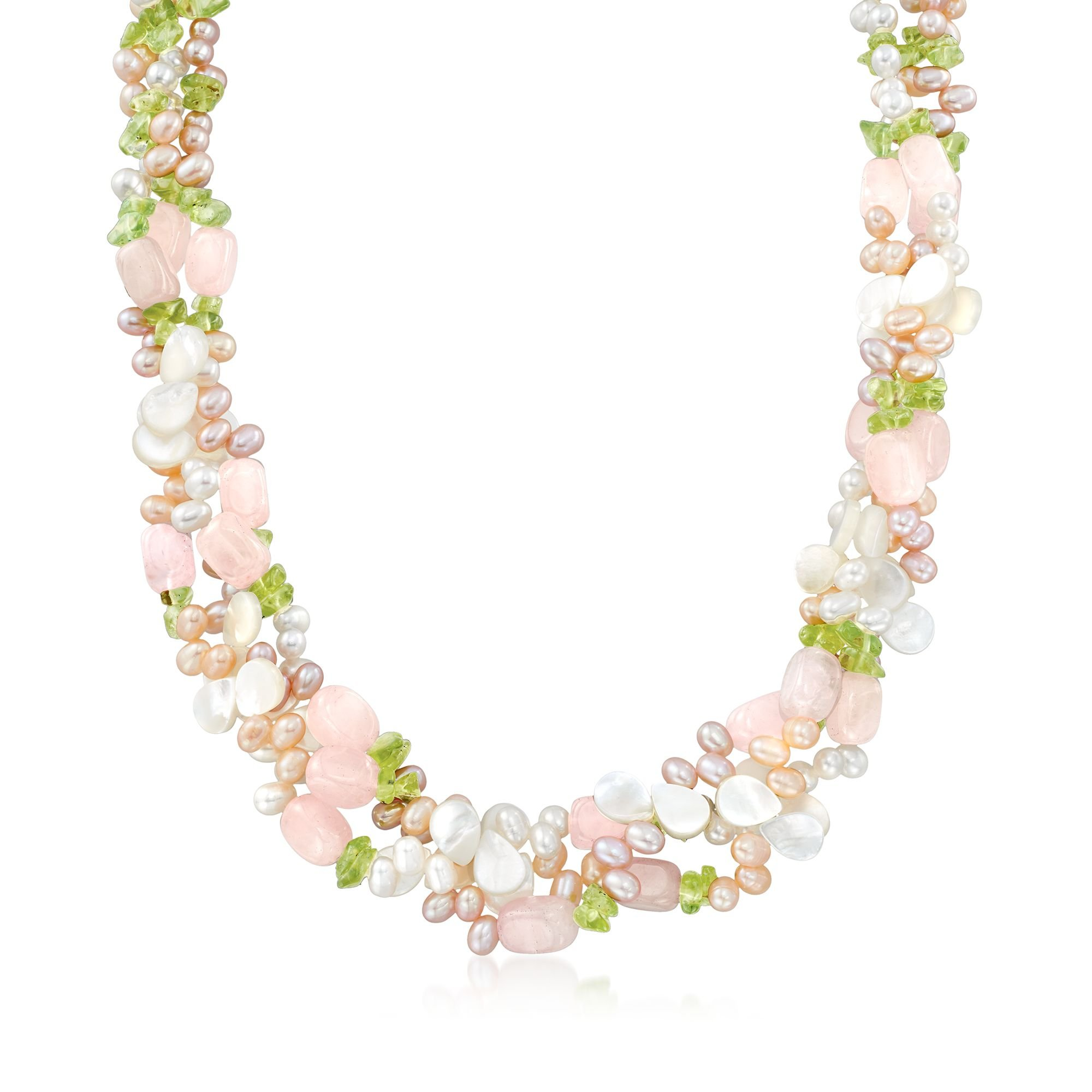 Ross-Simons 4-5mm Multicolored Cultured Pearl and Multi-Stone Torsade Necklace With Sterling Silver