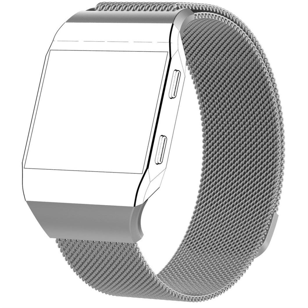 Fitbit Ionic帯、Liu Nian磁気ロックMilanese Loopステンレススチール交換用ストラップfor Fitbit Ionic Smart Watch Gray Large Gray Large B076LZZBWW