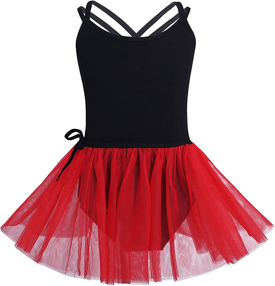 TiaoBug Girls Ballet Dress Outfits Cotton Short Sleeves Active Dance Gymnastics Leotard with Chiffon Skirt Dancewear Set