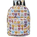 A-More Backpack Cute Women Backpack Printed Emoji Canvas Daypack Leisure Backpack Travel Bag