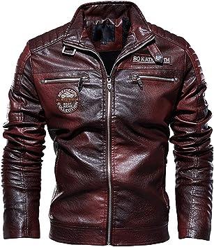 メンズコート・ジャケット-2020メンズレザージャケットモーターサイクルジャケットプラスベルベットで保温