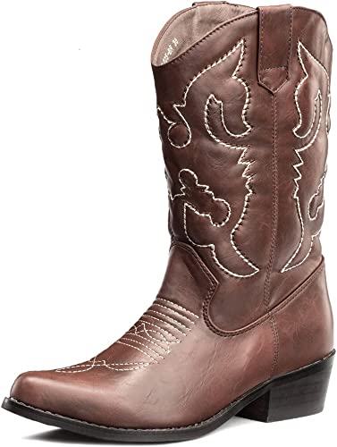 Mens real leather Motorcycle Western Cowboy Black Brown Mid Calf Riding boots sz