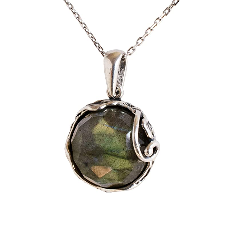 Flashy Labradorite Faceted Bead Necklace Sterling Silver Chain Natural Stone Gray Grey Iridescent Simple Necklace Elegant Minimalist #16432