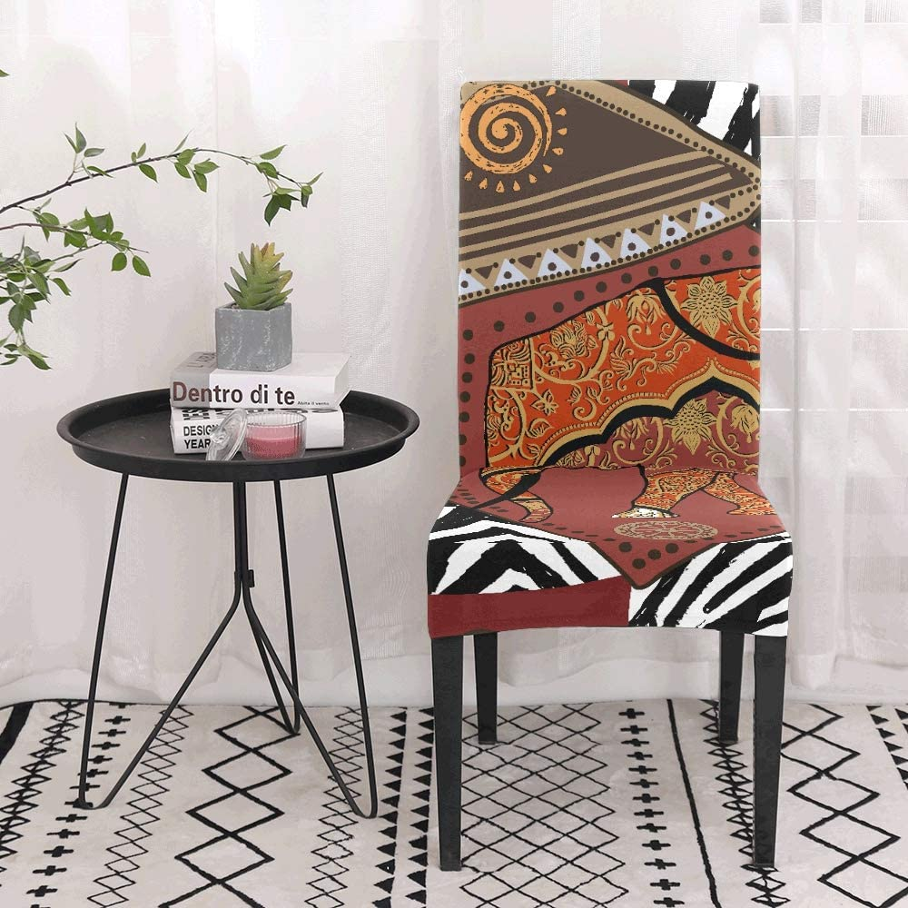 Covers for Chairs African Tribal Ethnic Style Art Stretch Chair Seat Covers Soft Stretch Living Room Chair Covers Washable Removable Stretch Chair Seat Covers for Dining Room Home Party Hotel Wedding